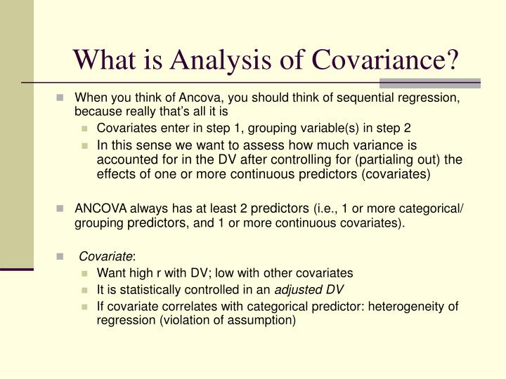 What is analysis of covariance