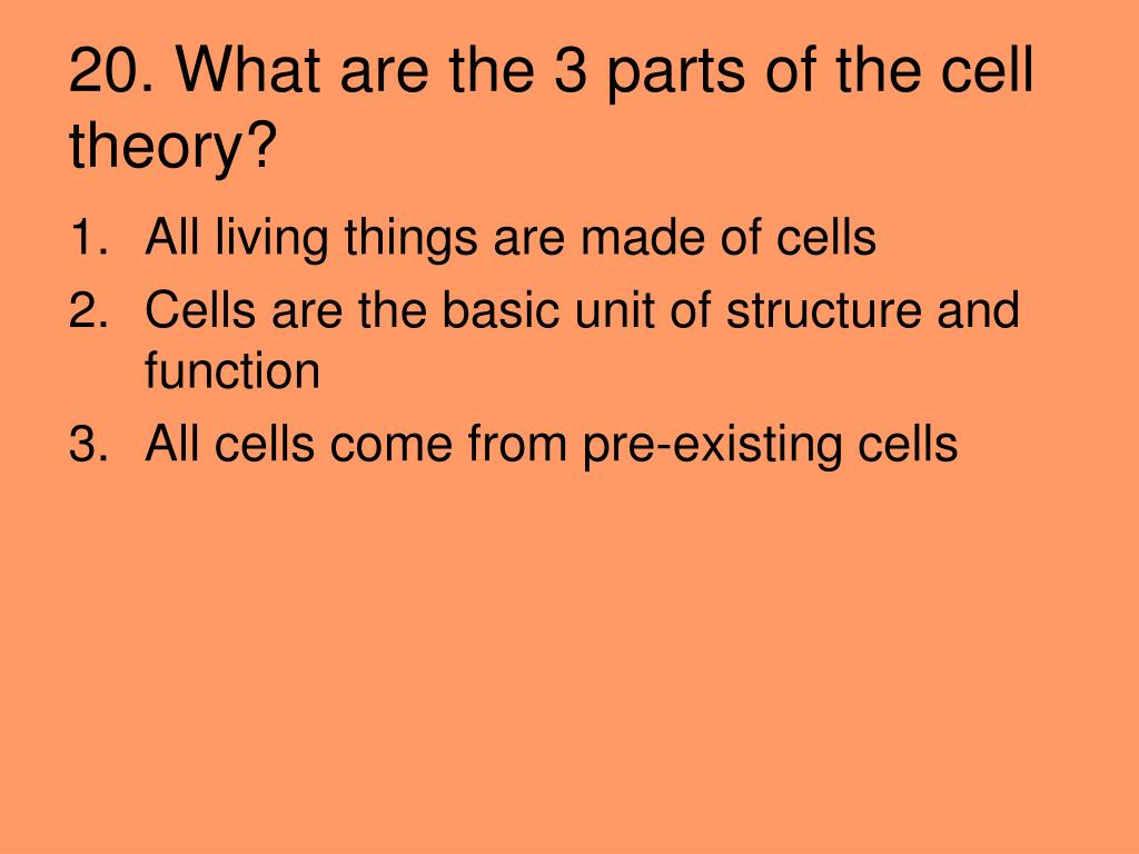 20. What are the 3 parts of the cell theory?