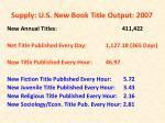 supply u s new book title output 2007