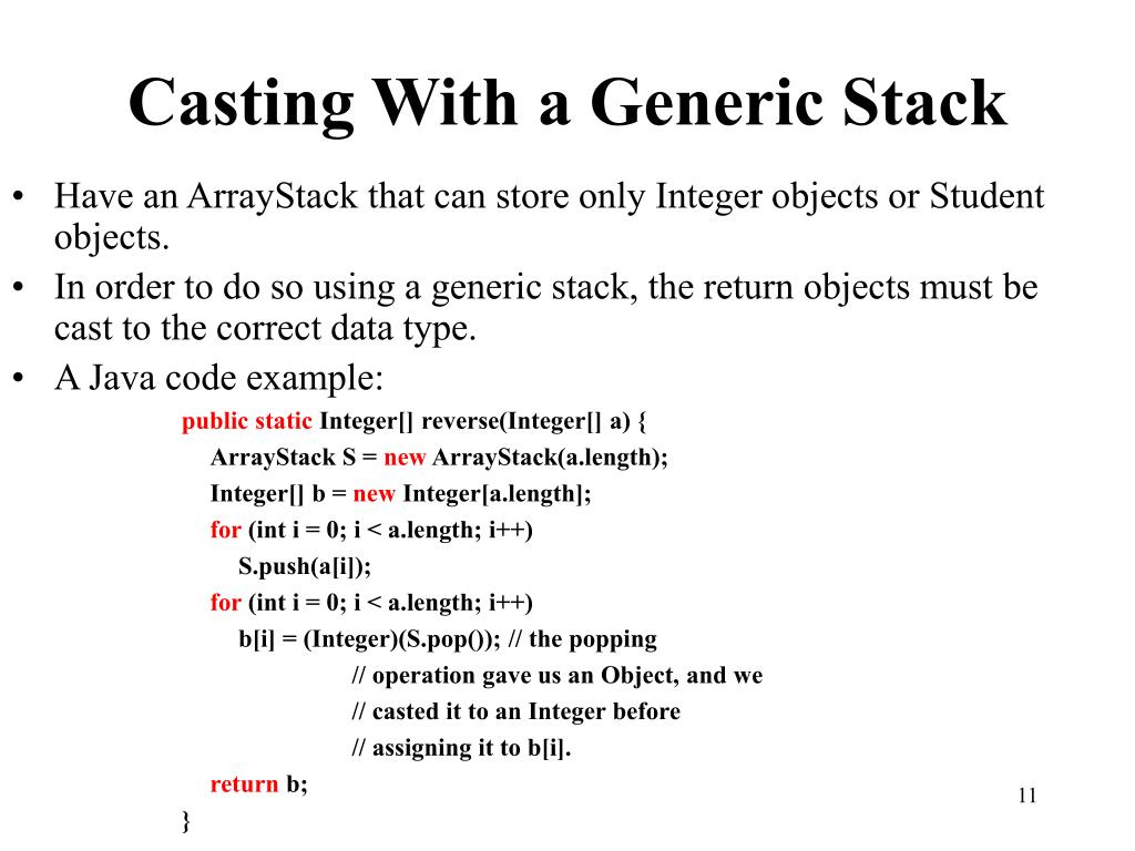 Casting With a Generic Stack