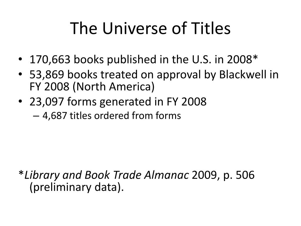 The Universe of Titles