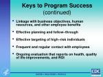 keys to program success continued