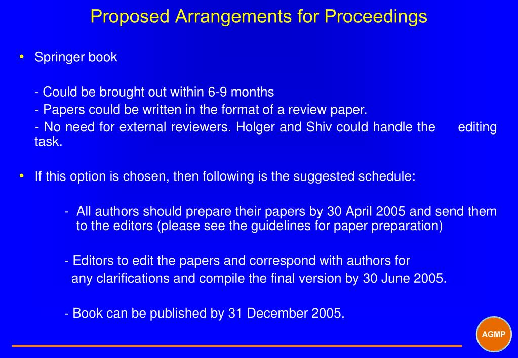 Proposed Arrangements for Proceedings