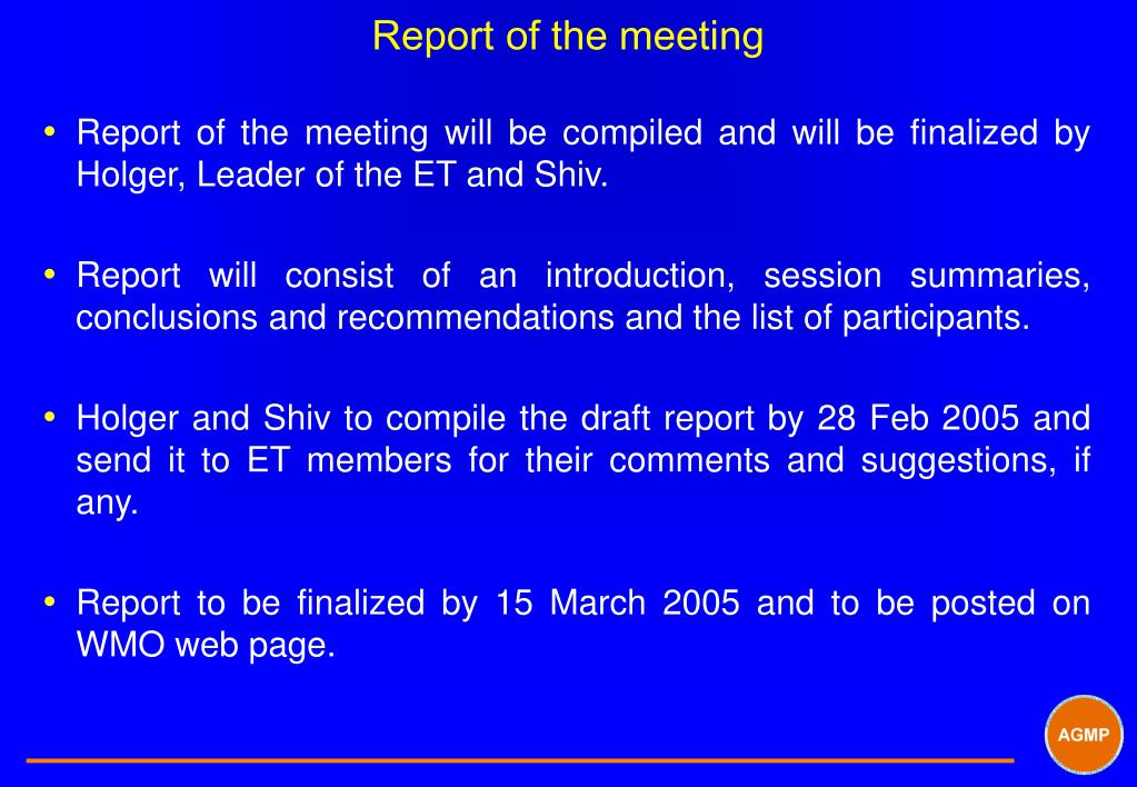 Report of the meeting