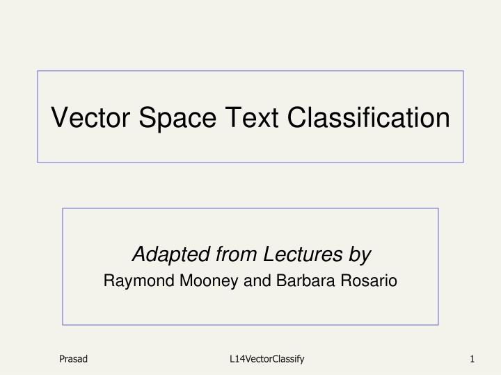 vector space text classification n.