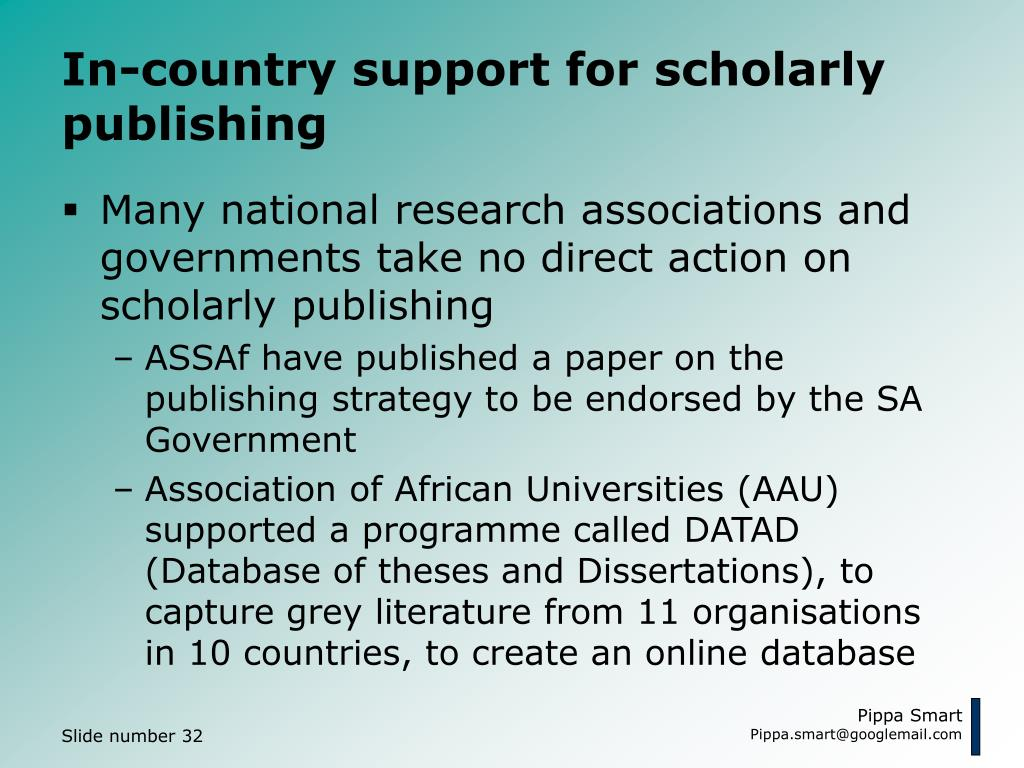 In-country support for scholarly publishing