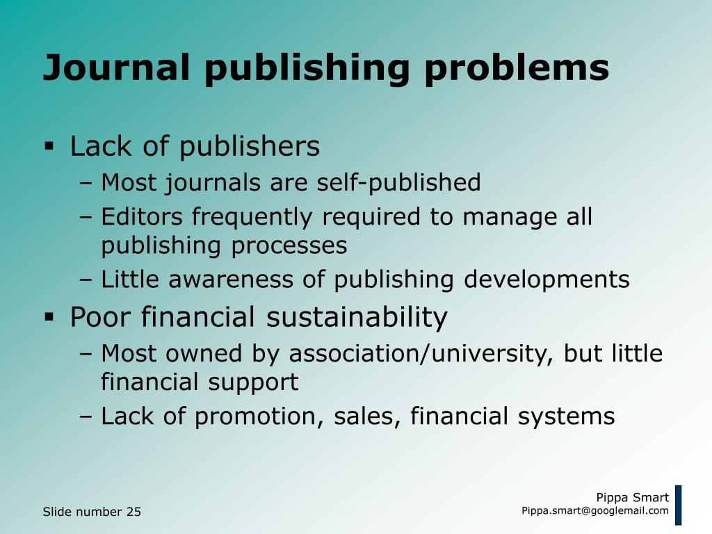 Journal publishing problems
