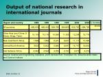 output of national research in international journals