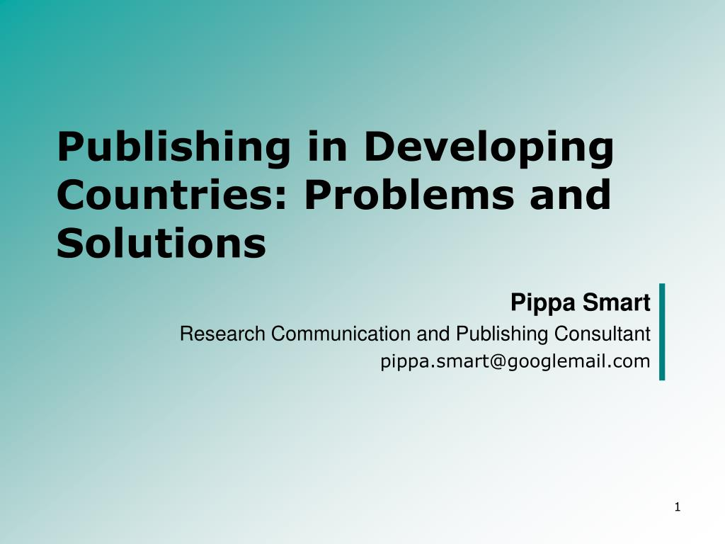 publishing in developing countries problems and solutions l.
