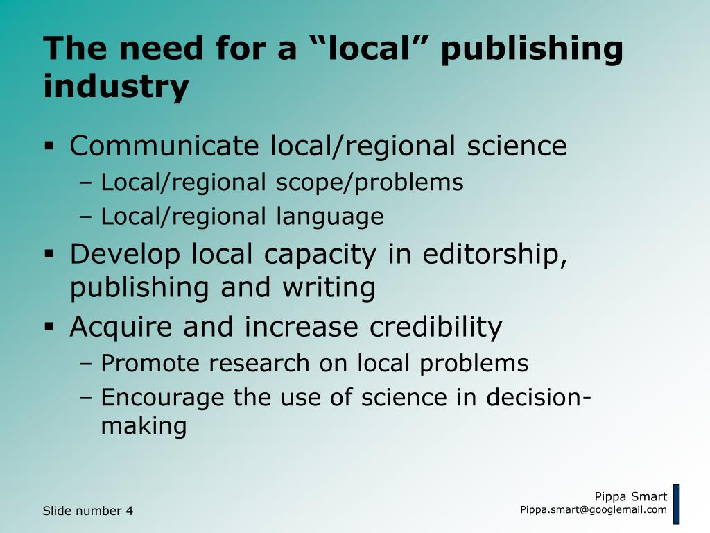 "The need for a ""local"" publishing industry"