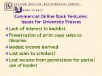 commercial online book ventures issues for university presses