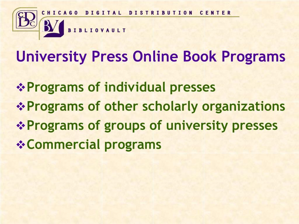 University Press Online Book Programs