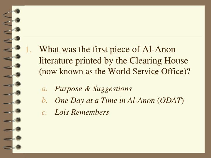 What was the first piece of Al-Anon literature printed by the Clearing House