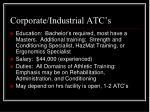corporate industrial atc s