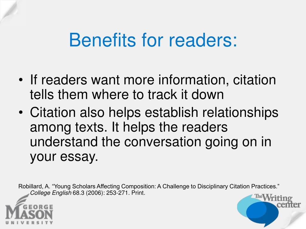 Benefits for readers: