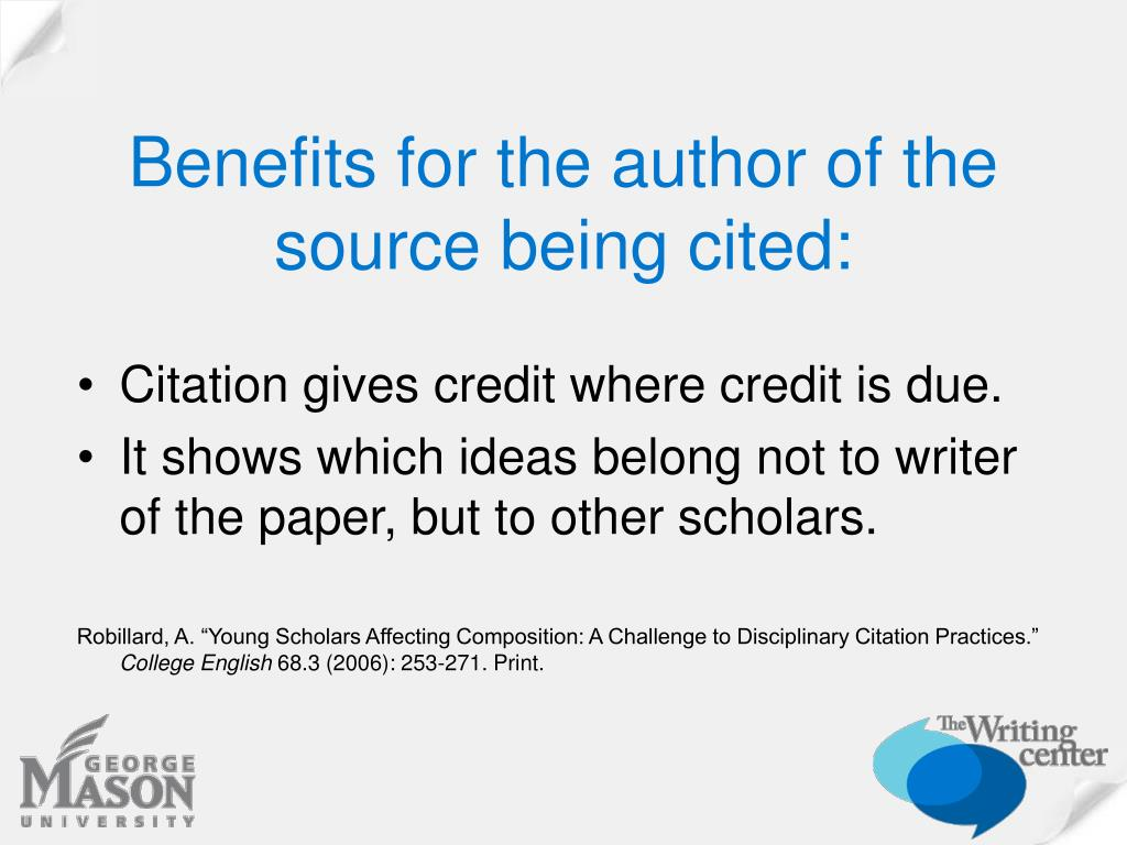 Benefits for the author of the  source being cited: