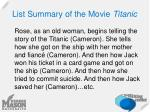 list summary of the movie titanic