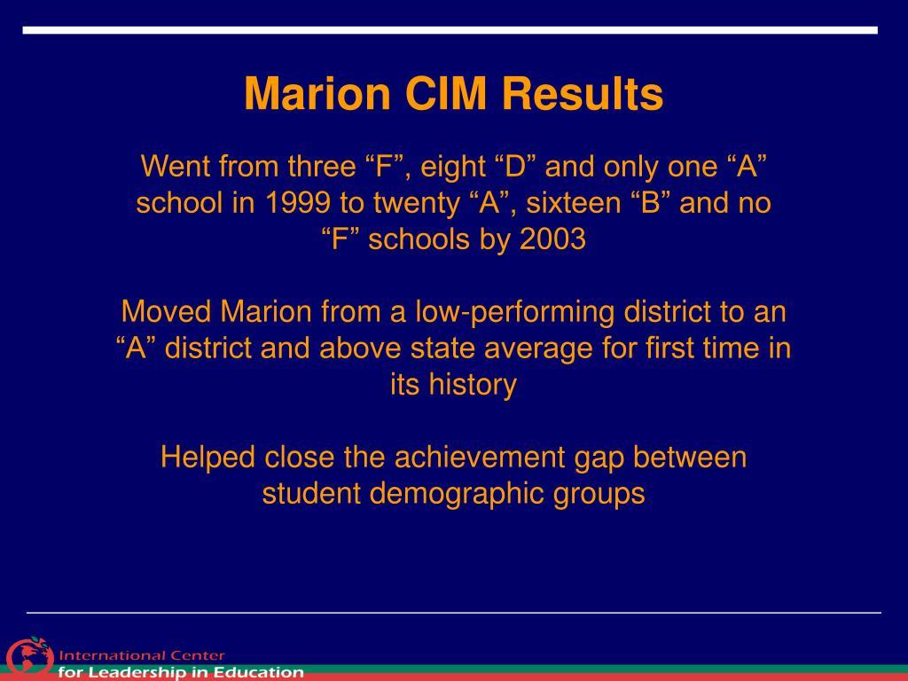 Marion CIM Results