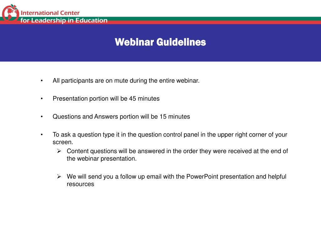 Webinar Guidelines