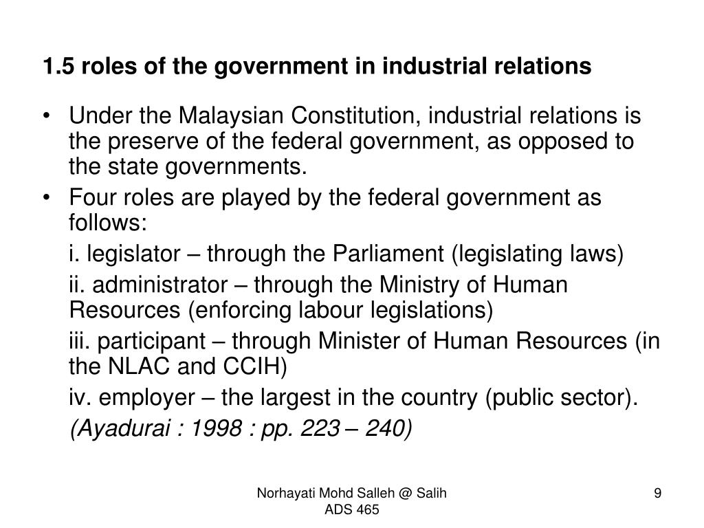 role of government in industrial relations pdf