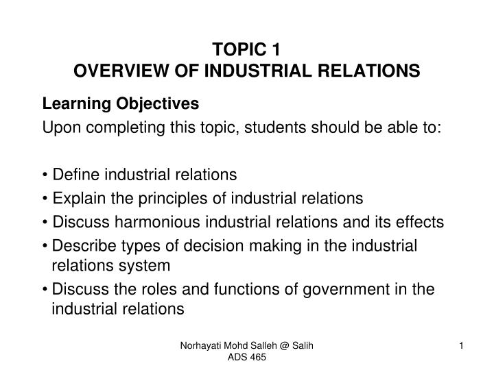 topic 1 overview of industrial relations n.