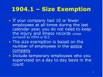 1904 1 size exemption