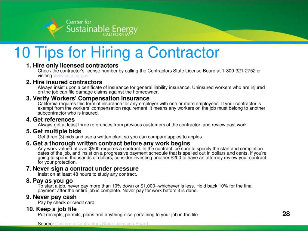 10 Tips for Hiring a Contractor