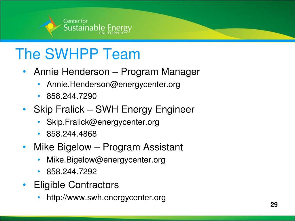 The SWHPP Team