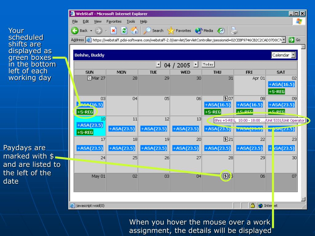 Your scheduled shifts are displayed as green boxes in the bottom left of each working day