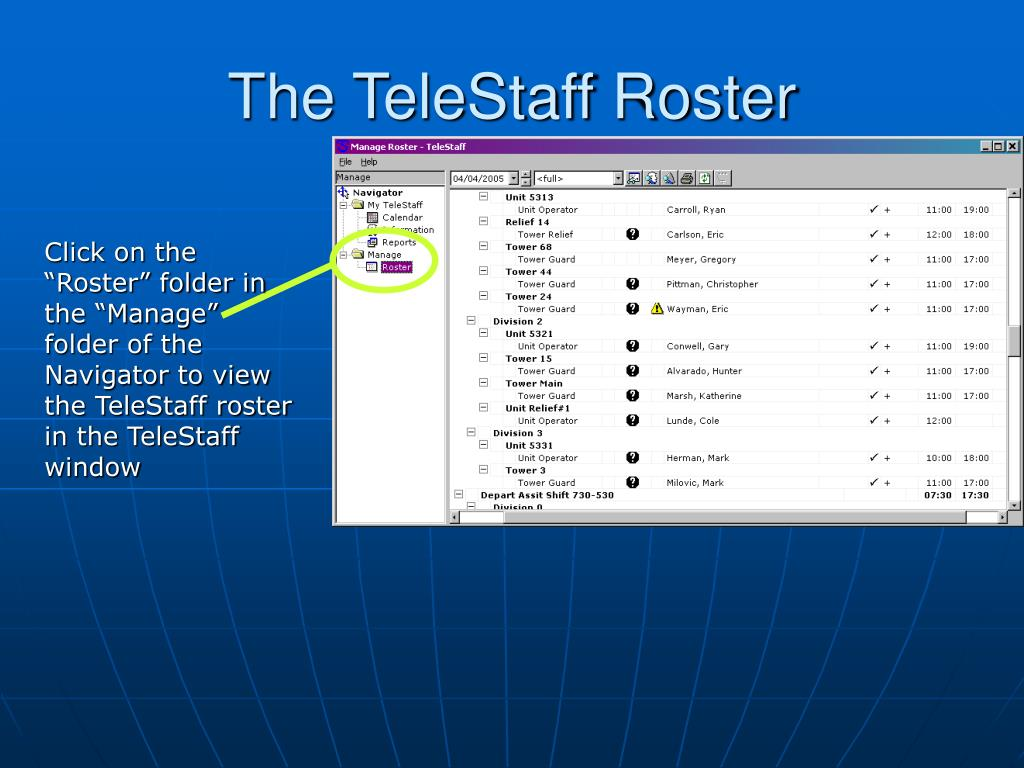 The TeleStaff Roster