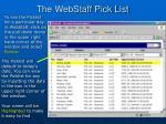 the webstaff pick list