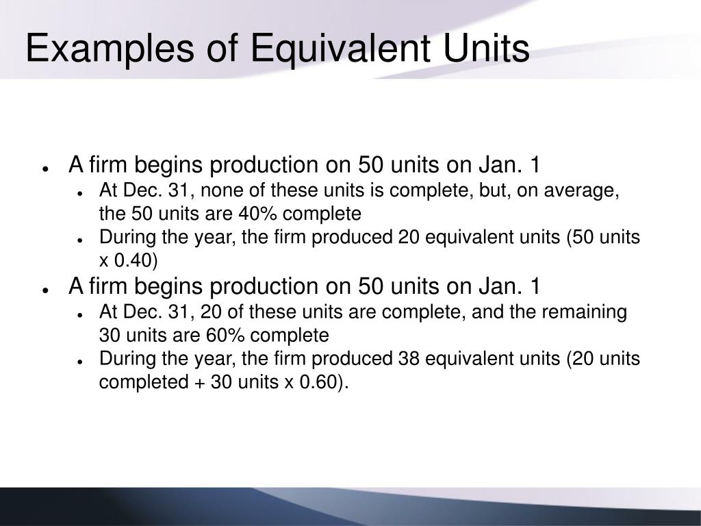 Examples of Equivalent Units
