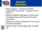 baseball reminders