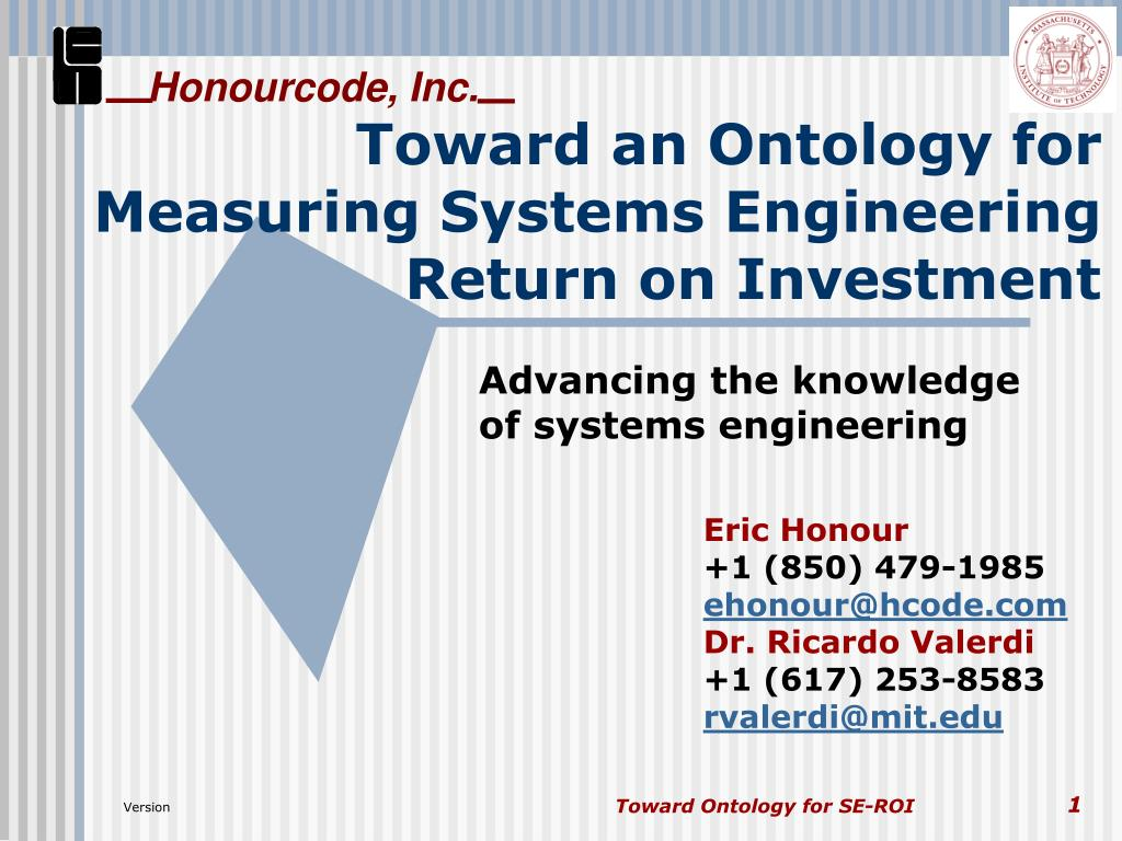 toward an ontology for measuring systems engineering return on investment l.
