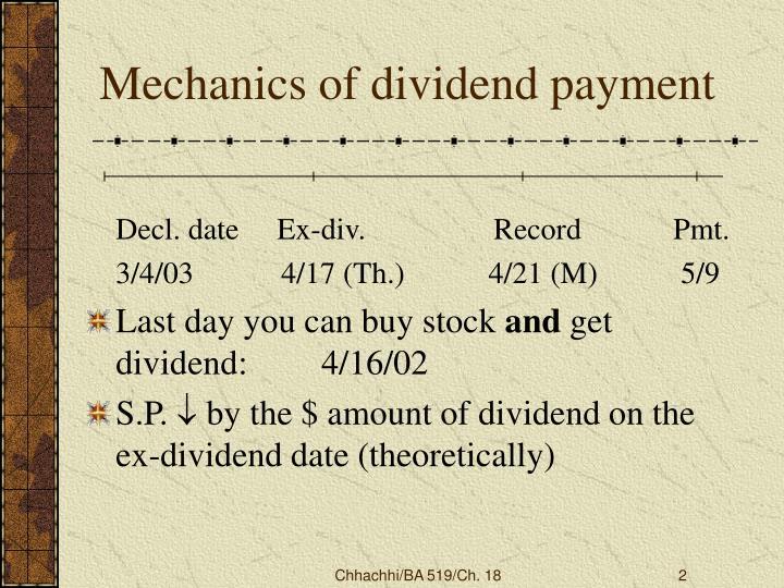 Mechanics of dividend payment