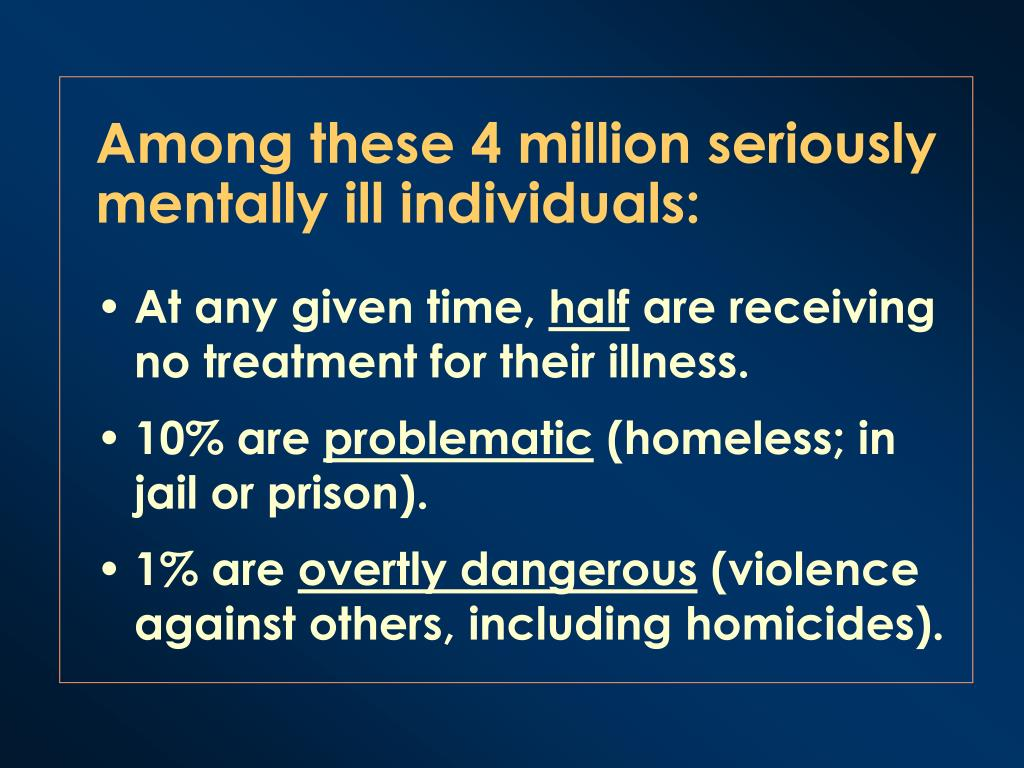 Among these 4 million seriously mentally ill individuals: