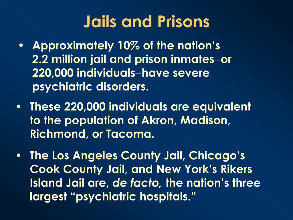 Approximately 10% of the nation's 2.2 million jail and prison inmates
