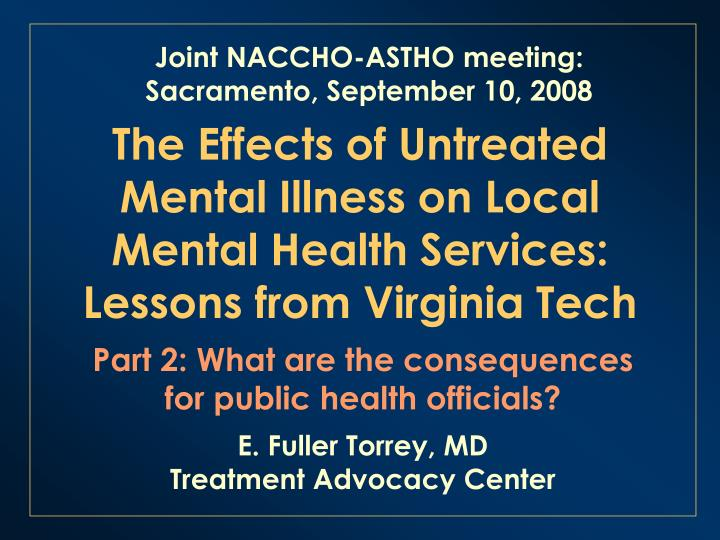 The effects of untreated mental illness on local mental health services lessons from virginia tech