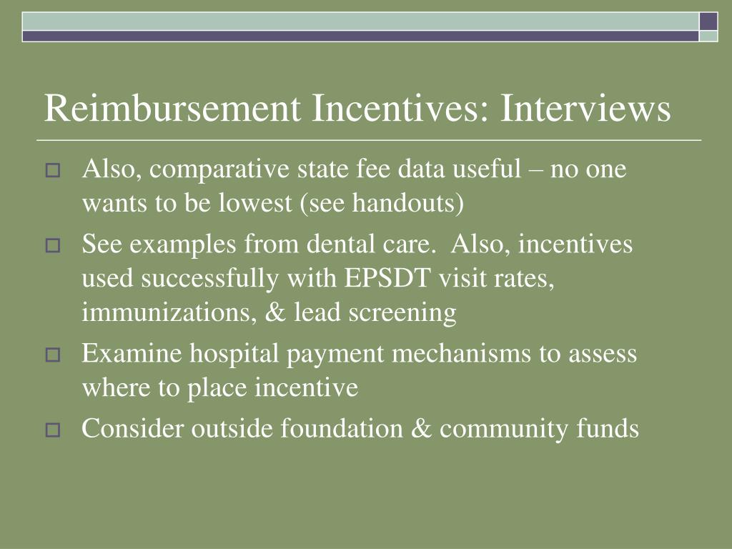 Reimbursement Incentives: Interviews