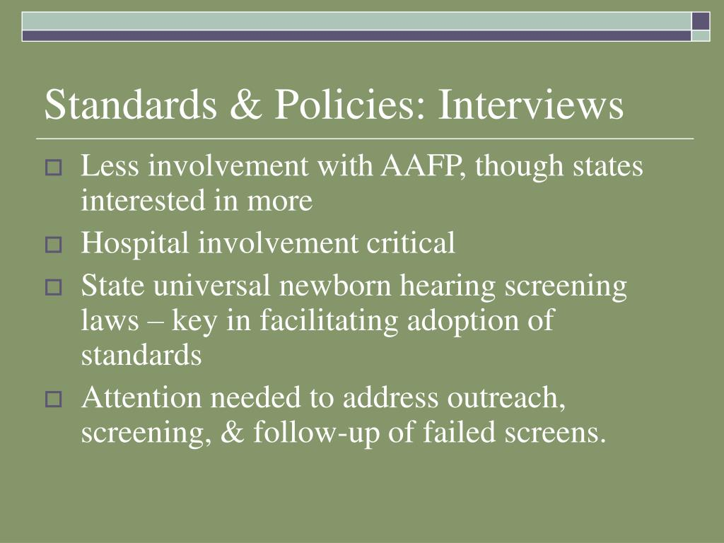 Standards & Policies: Interviews