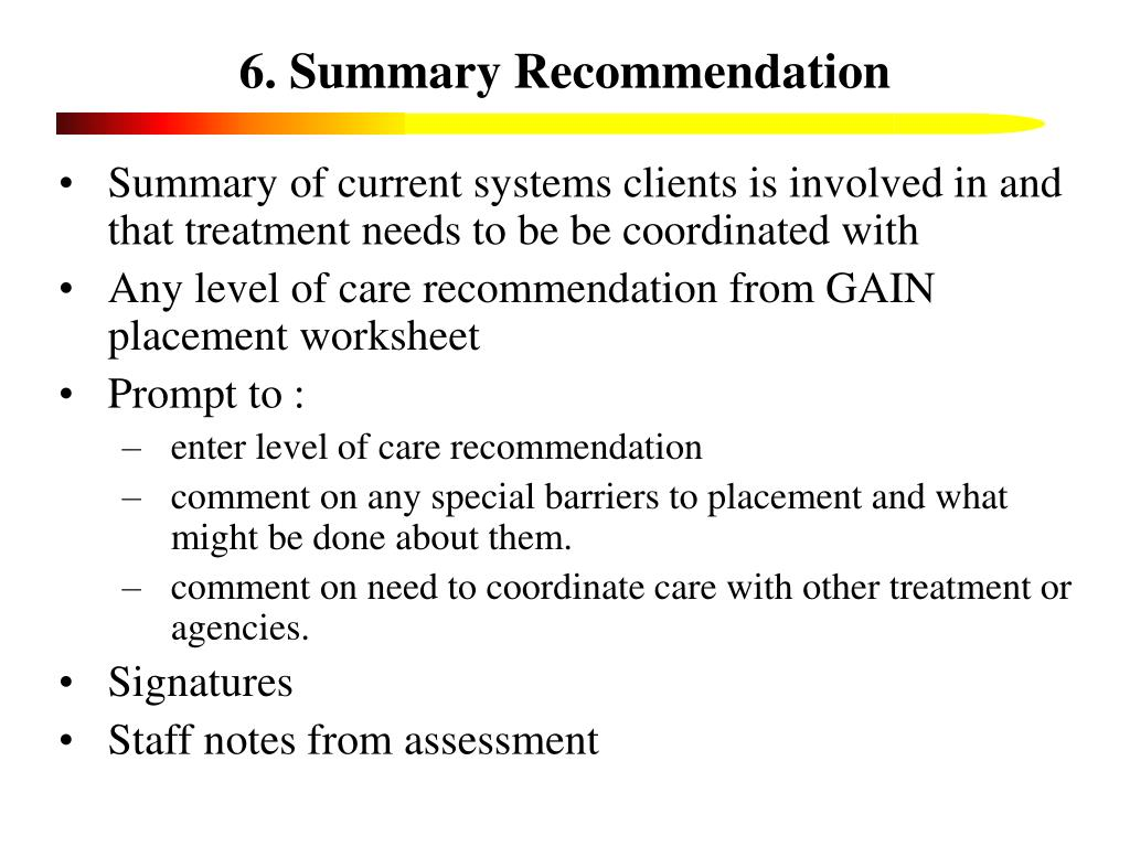 6. Summary Recommendation