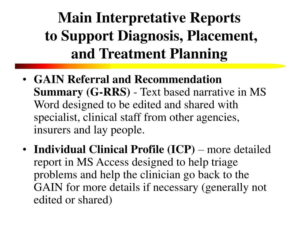 Main Interpretative Reports