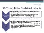 2020 job titles explained 2 of 2