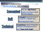 employer s expectations current skill set still critical