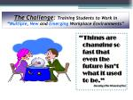 the challenge training students to work in multiple new and emerging workplace environments