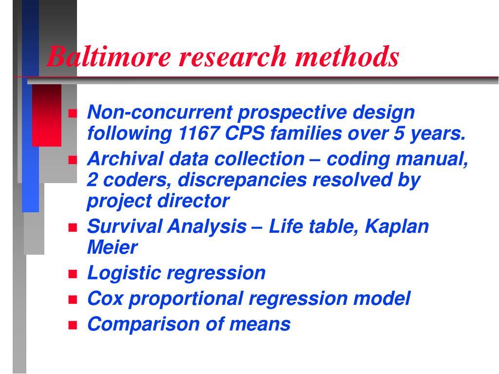 Baltimore research methods