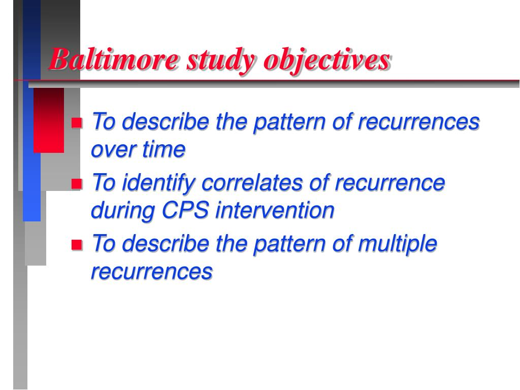 Baltimore study objectives