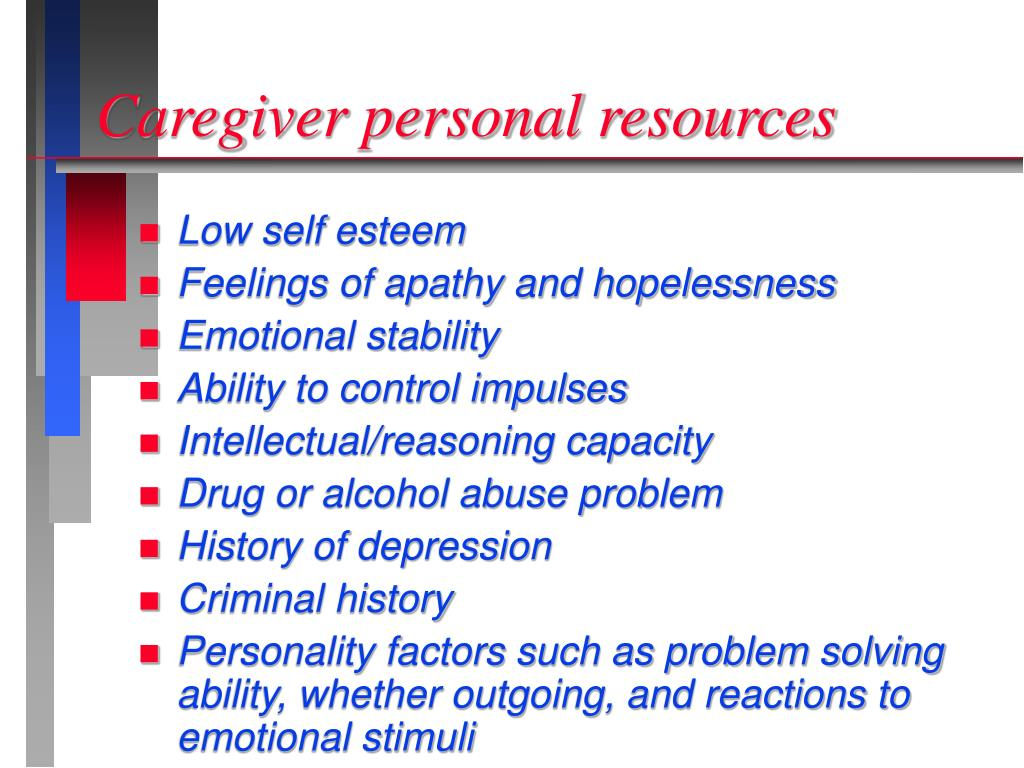 Caregiver personal resources