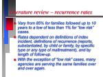 literature review recurrence rates