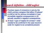 research definition child neglect